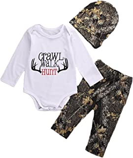 Newborn Baby Boys Long Sleeve Letters Deer Romper Bodysuit Pants Hat Outfit Clothes Set