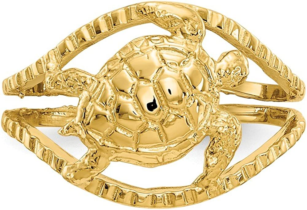 Solid 14k Yellow Gold Turtle Toe Ring (10mm)