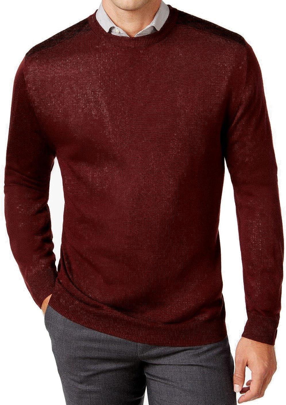Ryan Seacrest Mens Contrast-Shoulder Pullover Sweater, Red, Medium