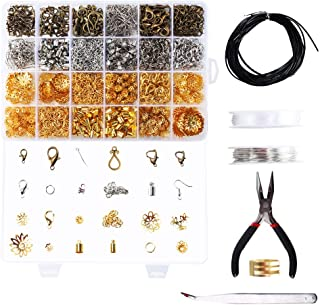 ETSAMOR Kit de Fabricación de Joyas 1060pcs Accesorios de Joyería a hacer Bisutería Casera Collares Pendientes Pulseras Manualidades DIY con Alicates, Pinzas, Caja y Alambre