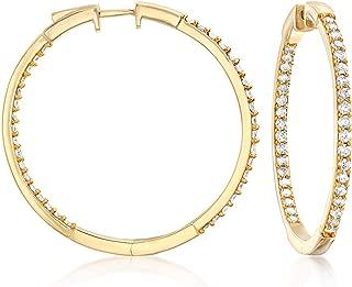 2.00 ct. t.w. Diamond Inside-Outside Hoop Earrings in 18kt Gold Over Sterling. 1 1/2 inches