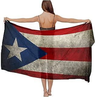Women Scarf Shawl Vintage Puerto Rico Flag Beach Swimsuit Wrap Gift