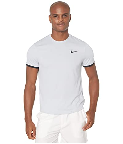 Nike NikeCourt Dri-FIT Short Sleeve Tennis Top (Sky Grey/Black/Black) Men