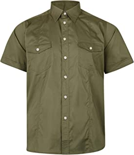 Kam Mens Big Size Retro Stretch Shirt (6180) with Twin Front Chest Pocktes, 2 Colour Options