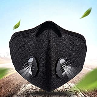 iQuark Protective Face and Mouth, Unisex, Washable, Reusable Protective Breathable Anti Dust Fog Windproof Outdoor Sports Cycling Facial Protection Black (3pcs Filter)