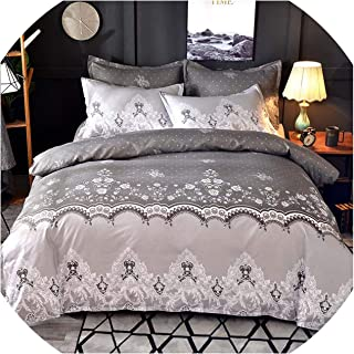 Luxury Lace Solid Color Bedding Set 3pcs Duvet Cover Set Pillowcases Bed Sheet Bedclothes Comforter Bedding Sets Bed Linen,Grey,200x230cm