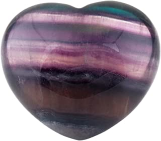 rockcloud Healing Crystal Fluorite Heart Love Carved Palm Worry Stone Chakra Reiki Balancing