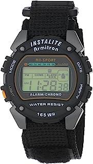 ساعة ارمترون رياضية للرجال 406623 دائرية رمادية و سوداء رقمية مع سوار من النايلون