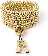 phoenix outdoor 108 Destiny Nepal Prayer Full Metal Buddism Bead Mala Necklace (Full Brass)
