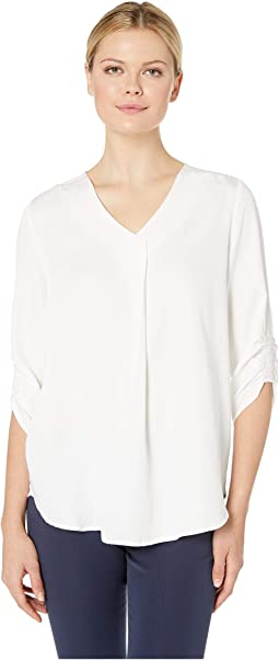Solid Blousing Easy Pop-Over V-Neck Blouse