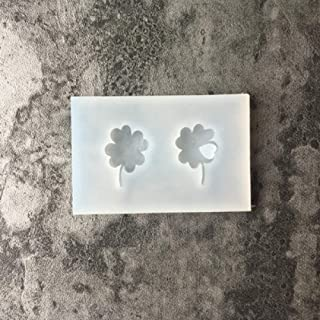 1pc Four Leaf Clover Keychain Pendant Silicone Mold for DIY Desserts Chocolate Pudding Handmade Cupcake Cake Topper Decor Jelly Shots Gum Paste Candy Ice Cube Crystal Soap Mould Fondant Mold