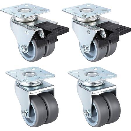 FIXKIT 4 PCS Double Roulettes Transports 50 mm,2 PCS Roulettes Pivotantes, 2 PCS Roulettes Pivotantes avec Frein, Capacité de Charge 400 kg