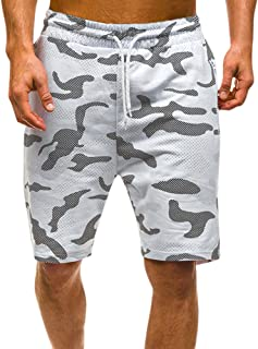 JJLIKER Men's Fashion Camouflage Shorts Classic Casual Jogger Gym Workout Cotton Pants with Elastic Waist Zipper Pocket