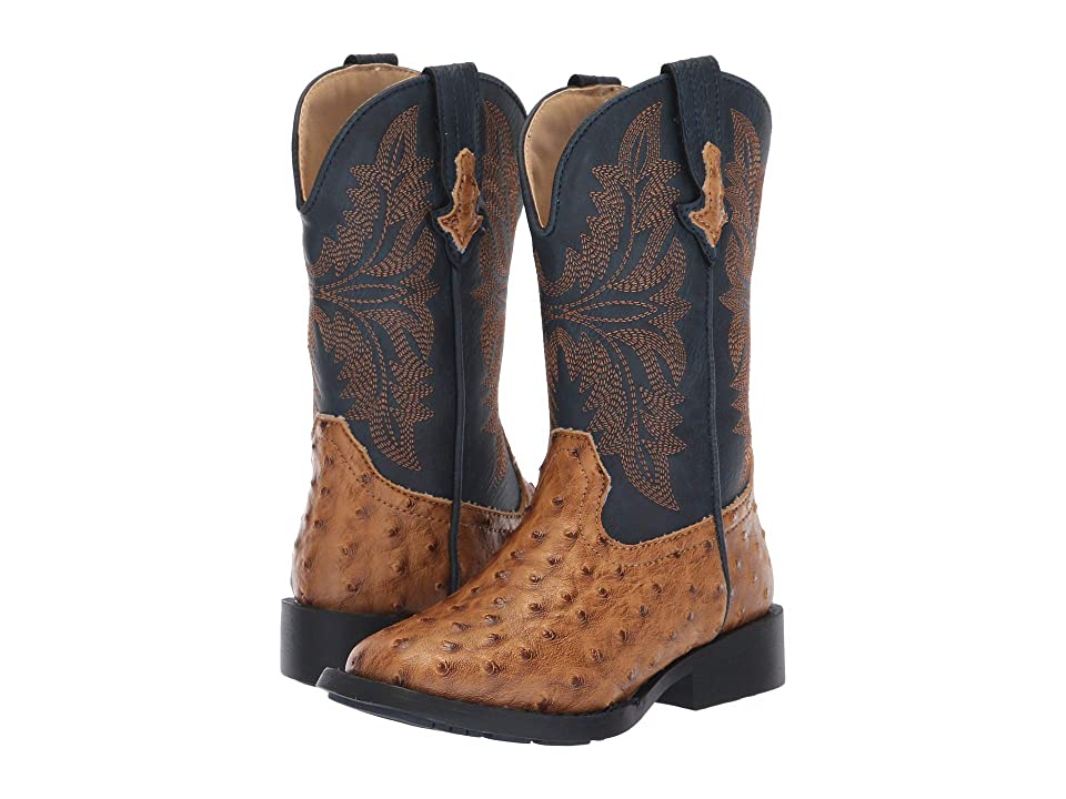 Roper Kids Cowboy Cool (Toddler/Little Kid) (Tan Faux Ostrich Vamp/Navy Shaft) Cowboy Boots