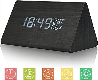 JoyShop Reloj Despertador Reloj Digital de Madera Triángulo LED Reloj de Escritorio de Alarma de Madera con Fecha y Temperatura Control táctil por Voz para niños Adolescentes
