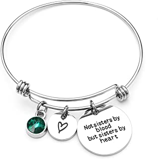 Best Friends Bracelets- Not Sisters By Blood But Sisters By Heart Charm Bracelet- Sister Jewelry- Friend Jewelry- Perfect Gift for Friends (05-May-Emerald)