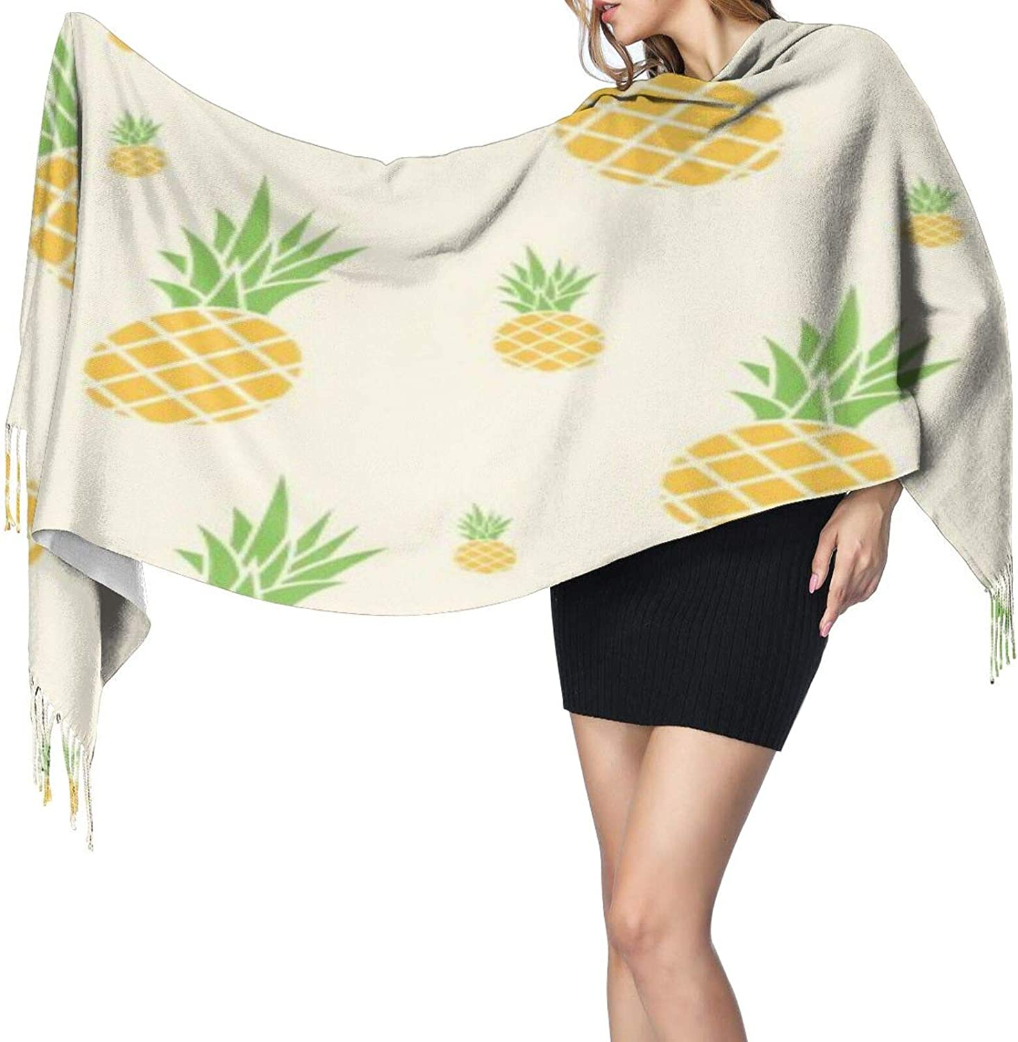Cashmere fringed scarf Ananas Pattern winter extra large scarf
