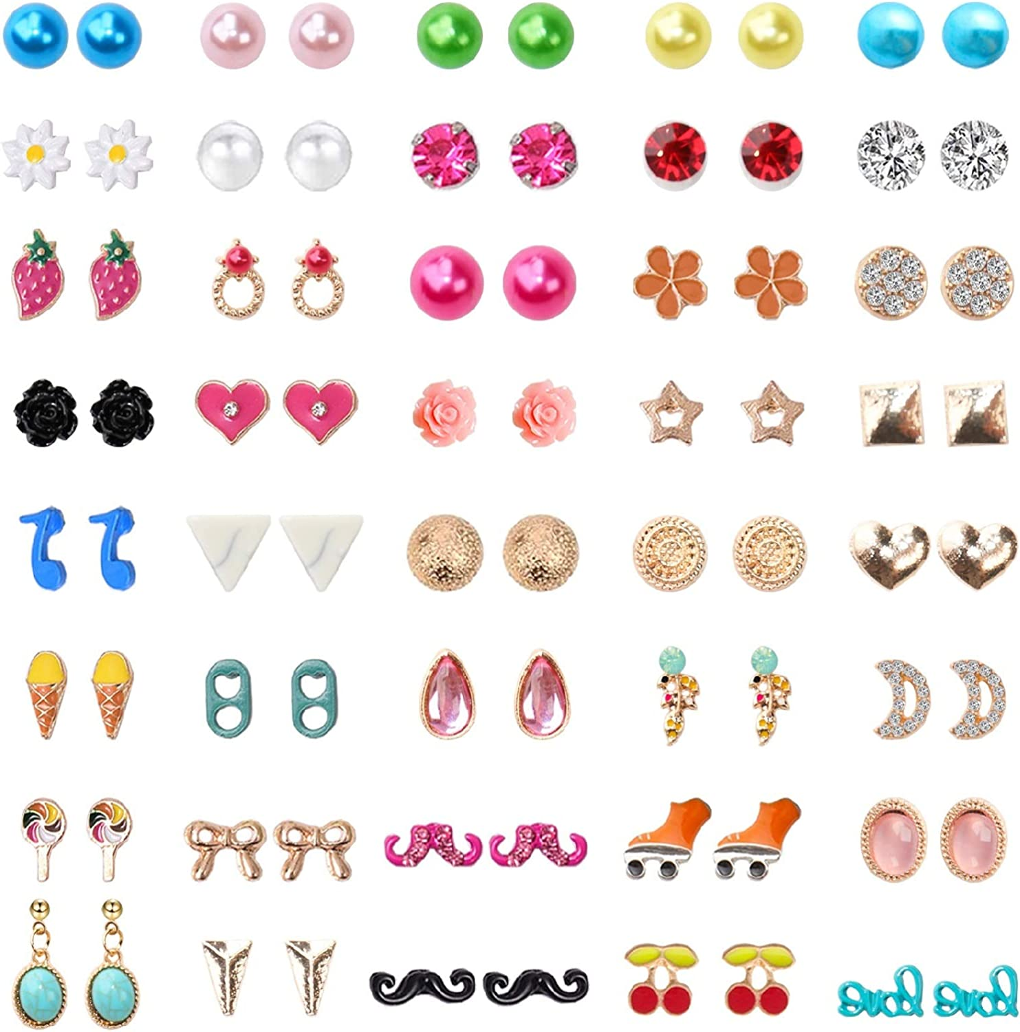 100% quality warranty NEWITIN 40 Pairs Colorful Cute Stud Earrings Earr Hypoallergenic wholesale