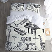 QC Home store 3 Piece Hotel Luxury Premium Bed Sheets Set,California King Bed Sheet,Jazz Music Decor of Musical Instruments Sketch Style Trumpet Piano Guitar Beige Black BedSheet,pillowslip.