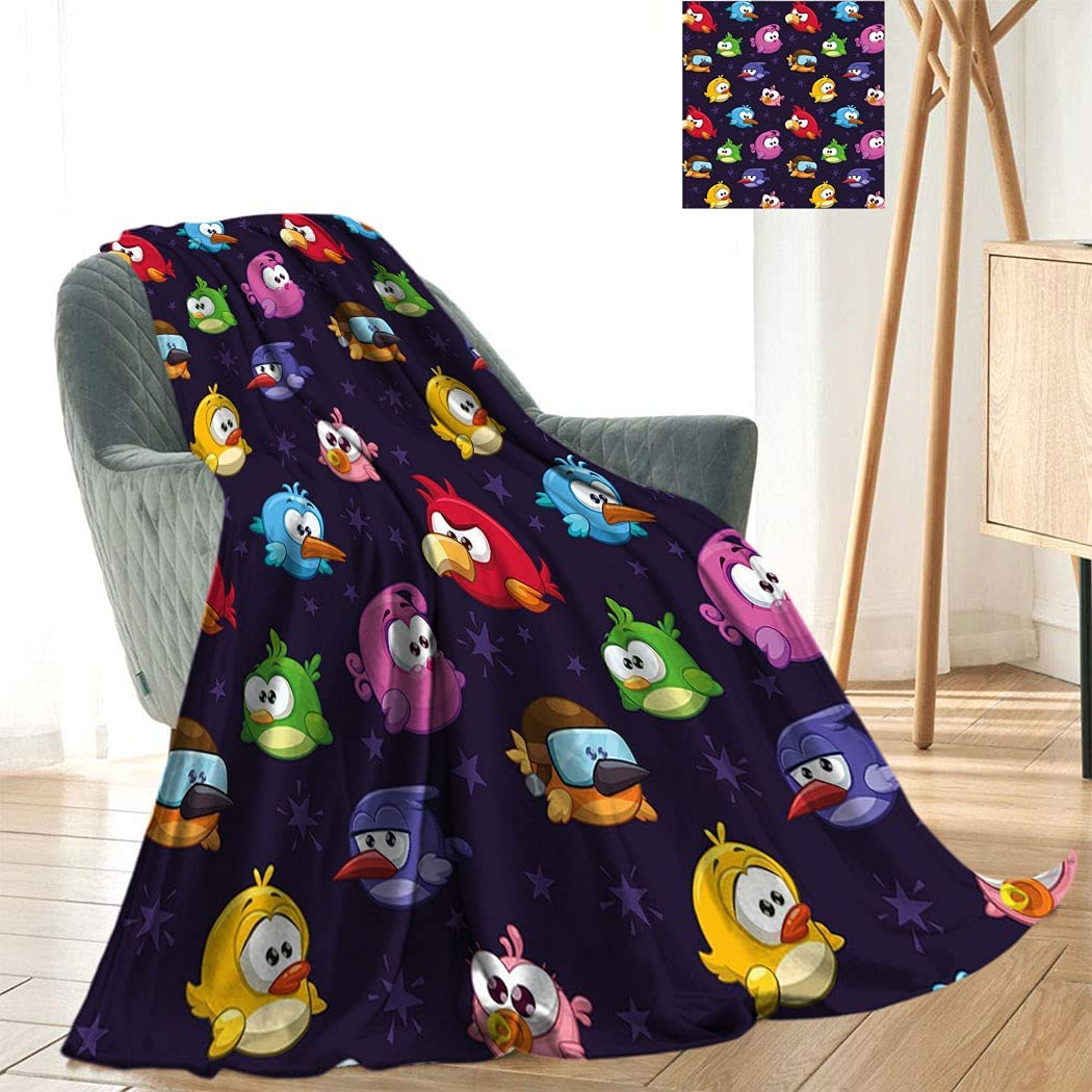 Funny Throw Excellence Blanket Angry New color Flying with Birds Expre Various Figure
