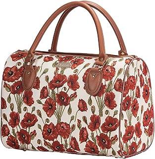 Signare Tapestry Red and White Women Weekender Hand Luggage Overnight Bag Poppy Flower (TRAV-POP)