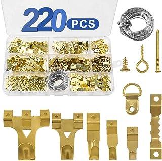 Ganchos para cuadros 220 pcs, kit de ganchos para colgar cuadros con alambre para colgar, diente de sierra, anillos en D, tornillos y clavos, ganchos para marcos de fotos para fijacion