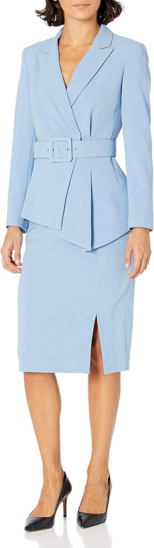 Tahari ASL Women's Belted Notch Collar Jacket with Pencil Skirt Set