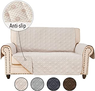 RHF Anti-Slip Loveseat Covers for Leather Sofa, Couch Cover, Loveseat Cover for Living Room, Loveseat Slipcover&Love Seat Couch Covers, Slip-Resistant Couch Cover for Leather Sofa (Loveseat: Beige)