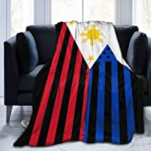 Boutique 9 American Filipino Flag Ultra Soft Flannel Bedding Blankets for Living Room Bedroom Couch Sofa Chair Office Car 80