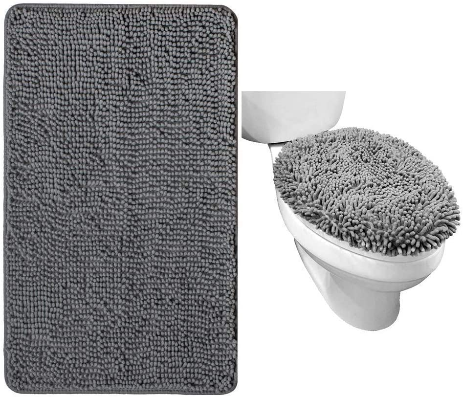 Gorilla Grip 春の新作シューズ満載 Chenille Bath Rug and in 値引き Cover Gra Toilet Lid Both