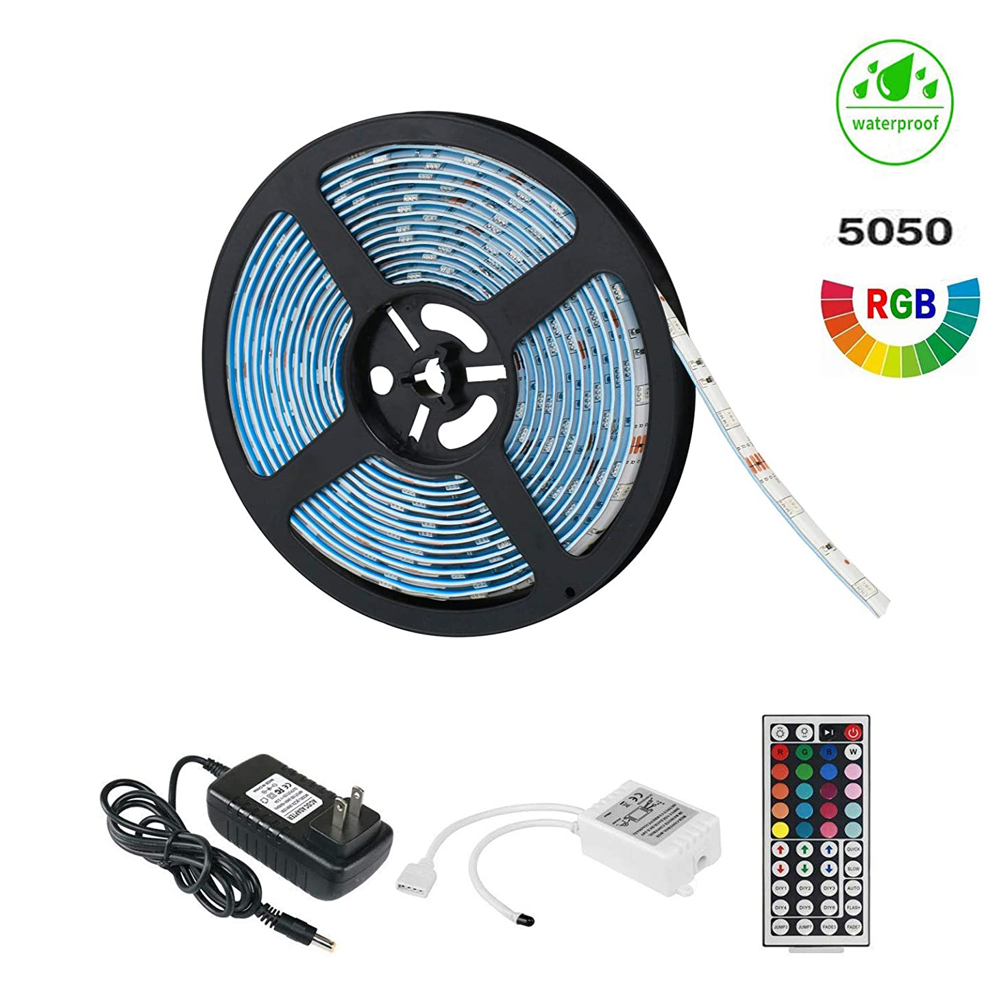 Led Light Strip Kit Waterproof 16.4ft/5m 5050 150LEDs, 12V DC RGB led Strip, Led Ribbon and Tape Light, Stronger 3M Adhesive Tape with Remote Controller for Home Kitchen Car Room Decoration Lighting