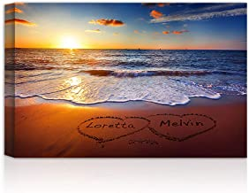 Love on Beach Heart in Heart - Personalized Canvas Prints Artwork or Framed Art with Couple's Names and Date on, Perfect Love Gift for Anniversary,Wedding,Birthday and Holidays.