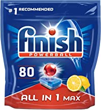 Finish Dishwasher Tablets, All in 1 Max Lemon, Pack of 80