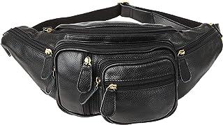 [(チョウギュウ)潮牛]ポケット多数 ウエストバッグ 本革 メンズ ヒップバッグ 2WAY ボディバッグ 柔軟牛革 ブラック