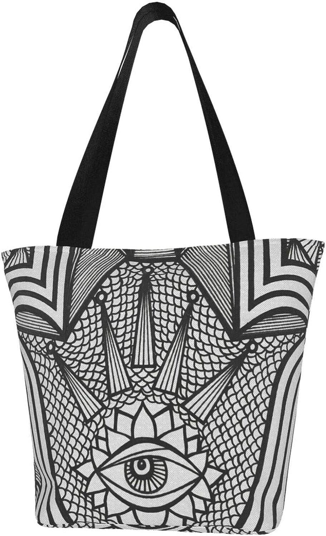 Hamsa Hand Fatima Faith Geometry Eye Themed Printed Women Canvas Handbag Zipper Shoulder Bag Work Booksbag Tote Purse Leisure Hobo Bag For Shopping