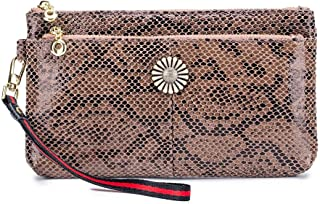 Aladin Leather Sunflower Double Zip Serpentine clutch bag simplicity clutch bag Mobile Phone Wallet for Women