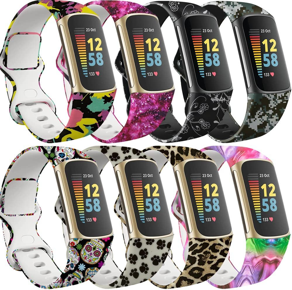 Compatibel met Fitbit Charge 5 Armband Band voor Vrouwen Meisjes, Waterdicht Duurzaam Fadeless Bloemenpatroon Gedrukt Zachte Siliconen Bandjes Accessoires Polsbandjes