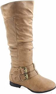 Coco-20 Women's Fashion Round Toe Low Heel Knee High Zipper Riding Boot Shoes