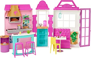 Barbie Cook 'n Grill Restaurant Playset with 30+ Pieces & 6 Play Areas, Gift for 3 to 7 Year Olds GXY72, Multi colour
