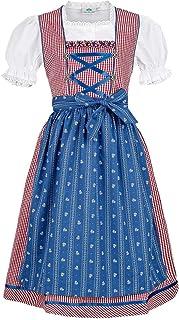 Isar-Trachten Mädchen Kinderdirndl rot blau mit Bluse, ROT, 80