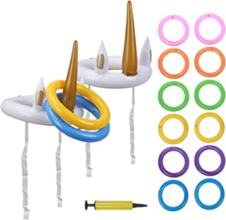 Kit de Lanzamiento de Anillos de Unicornio Inflable CHIFOOM, 2 Juegos al Aire Libre, Juegos para niños para la Piscina a Padres y niños, de jardín, de Fiesta