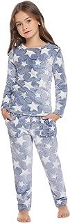 Hawiton Suave niña Pijamas con Manga Larga diseño de Estrella Dos Piezas Pijamas para niña niño Invierno Otoño