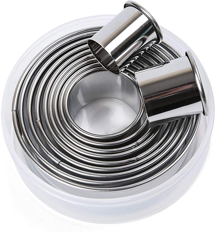 SOSOHOME 11 Pieces Metal Cookie Cutter Set Round Cookie Cutters Stainless Steel Circle Biscuit Pastry Cutters Assorted Sizes