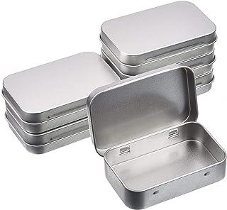 WestKaiba 6 個セットブリキ缶 ミニボックス メタル収納ケース ヒンジ付き蓋 シルバー 長方形コンテナ 小物収納 雑貨入れ