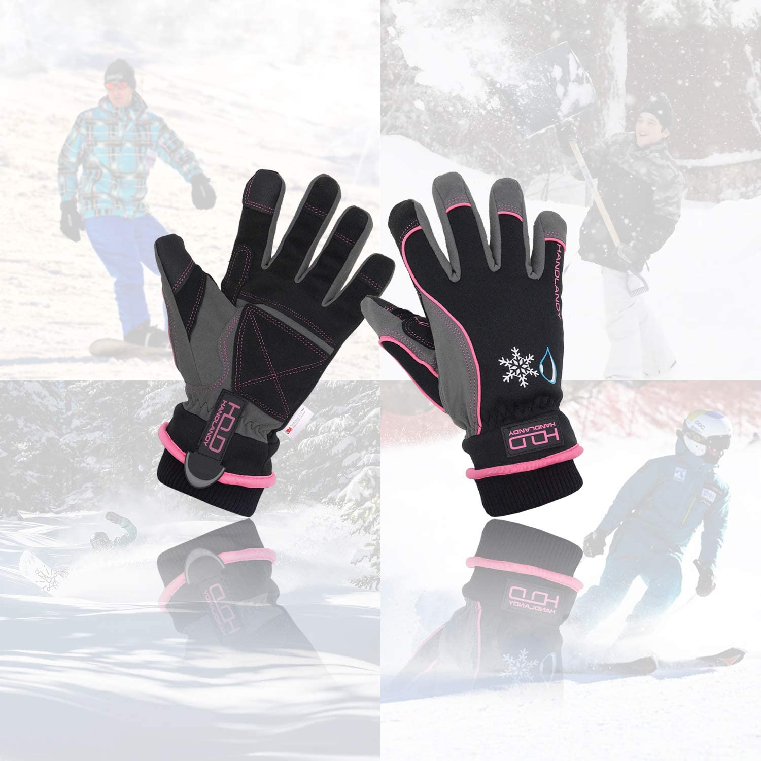 L, Blue Ski Snowboard Work Gloves with 3M Warm Lining Touchscreen Thermal Gloves for Cold Weather Waterproof /& Windproof Winter Gloves for Men