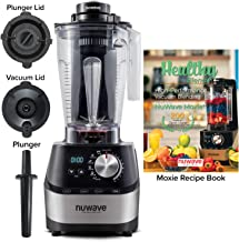NUWAVE MOXIE High-Performance (HP) Digital Vacuum Blender; NSF Certified; Powerful 2.5 HP Motor; Laser-Cut Hardened SS Blades; SS Metal Drive System with HP Bearings; 10 Adjustable Speeds; 6 Pre-Programmed Settings; Easy-to-Read Digital LED Display; 64 oz BPA-Free Tritan Jar; Vacuum Lid; Plunger Lid; Plunger; and 200 Recipe Blending Book: Blend Smoothies, Shakes, Fresh Juices, Nut Butters, Sorbets & Ice Creams, Corn Meal & Grains, and Hot Soups; Experience What Difference AIRLESS Blending Makes!