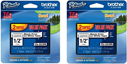 Brother TZe2312PK Laminated Black On White Tape 2-Pack (Total of 4 Tapes)