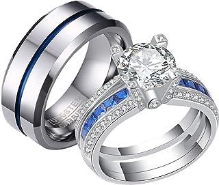 مجموعة خواتم الزواج من Newshe للرجال والنساء من التنجستين أربطة زرقاء من الفضة الإسترلينية Cz 5-12