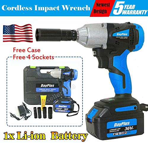 popular Blue Cordless Impact Wrench with 6.0 new arrival AH high quality Li-ion Battery 4 Sockets 14mm 17mm 19mm 22mm and Storage Case, 420Nm Torque Bulit-in LED Light Variable Speed, Perfect Power Tool for DIY Projects Auto Repair online