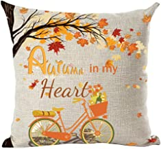 ramirar Hand Painted Orange Word Quote Autumn in My Heart Maple Leaves Flowers Bicycle Fall Decorative Throw Pillow Cover Case Cushion Home Living Room Bed Sofa Car Cotton Linen Square 18 x 18 Inches